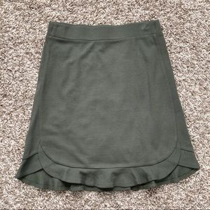 Olive Green Knit Skirt with Ruffle Edge